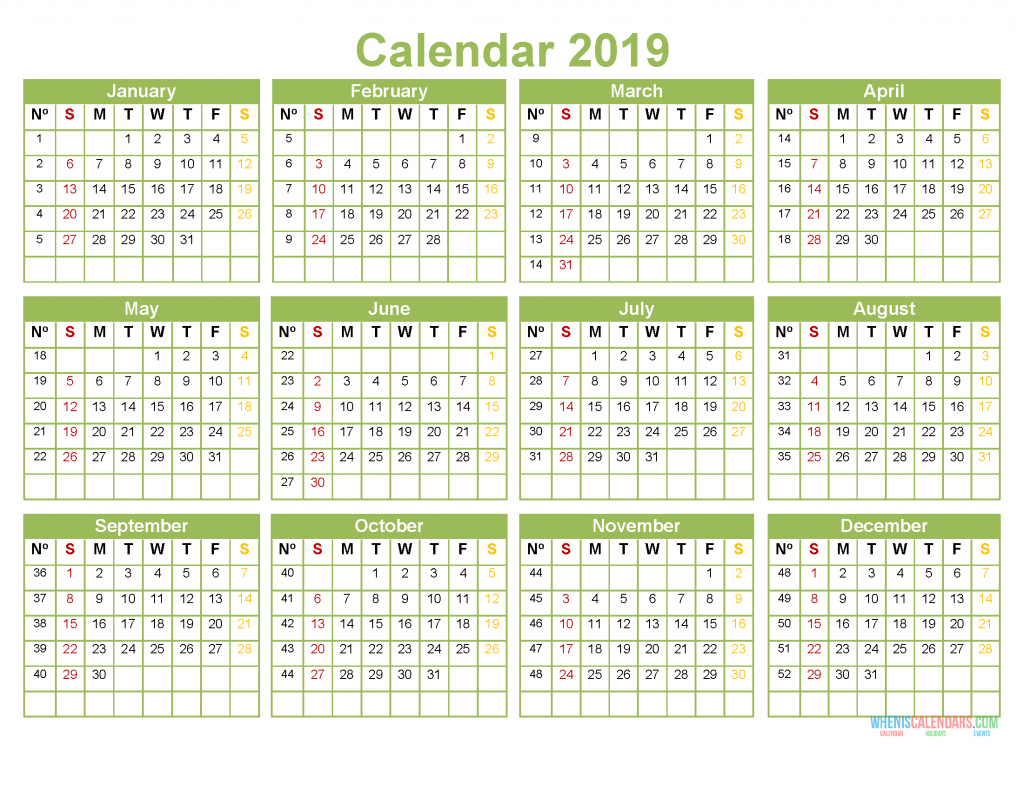 Printable 2019 Full Year Calendar Template Pdf Us Edition 2019