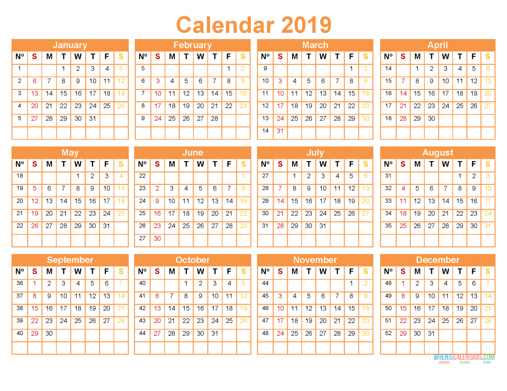 Printable 2019 12 Month Calendar Template Us Edition 2019