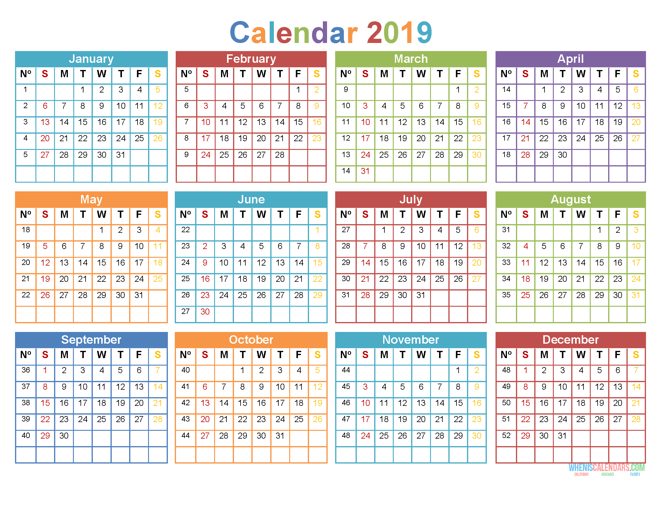 Printable 2019 12 Month Calendar Template Word Pdf Us