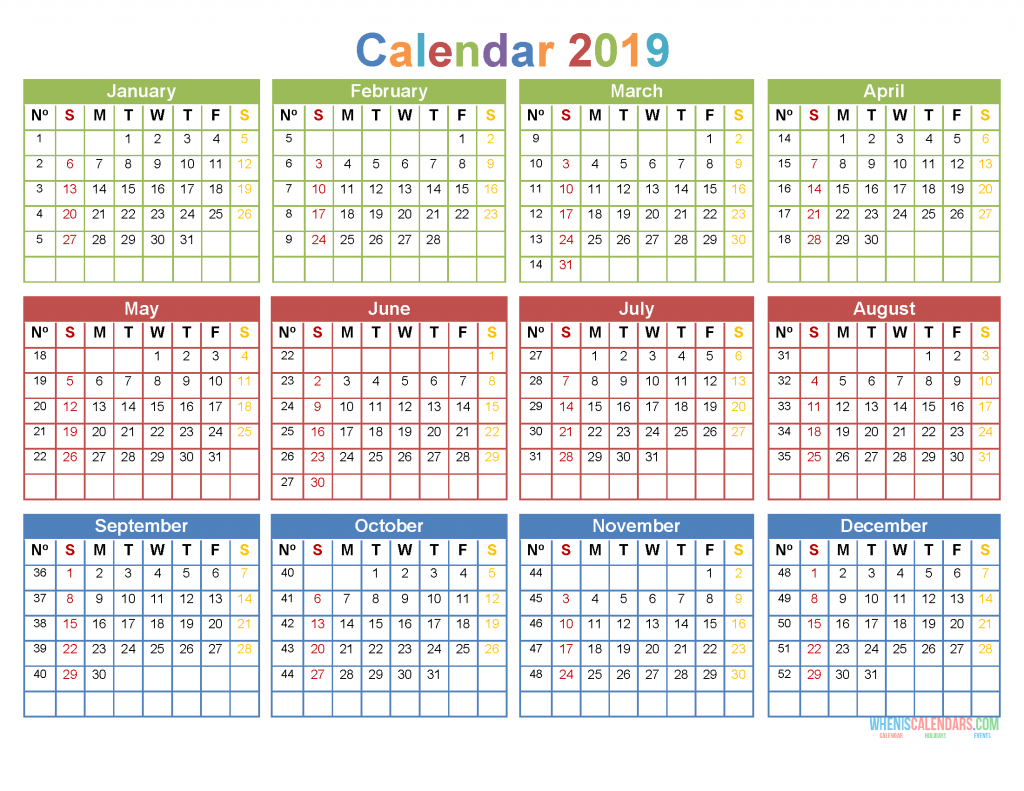 printable yearly calendar 2019 12 month on 1 page us edition