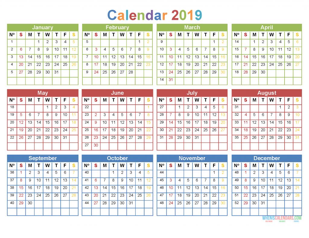 2019 12 Month Calendar Template Large Print Calendar 2019 PDF, Image
