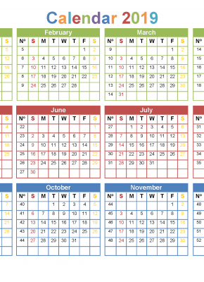 2019 12 Month Calendar Template In A One Page Printable Calendar