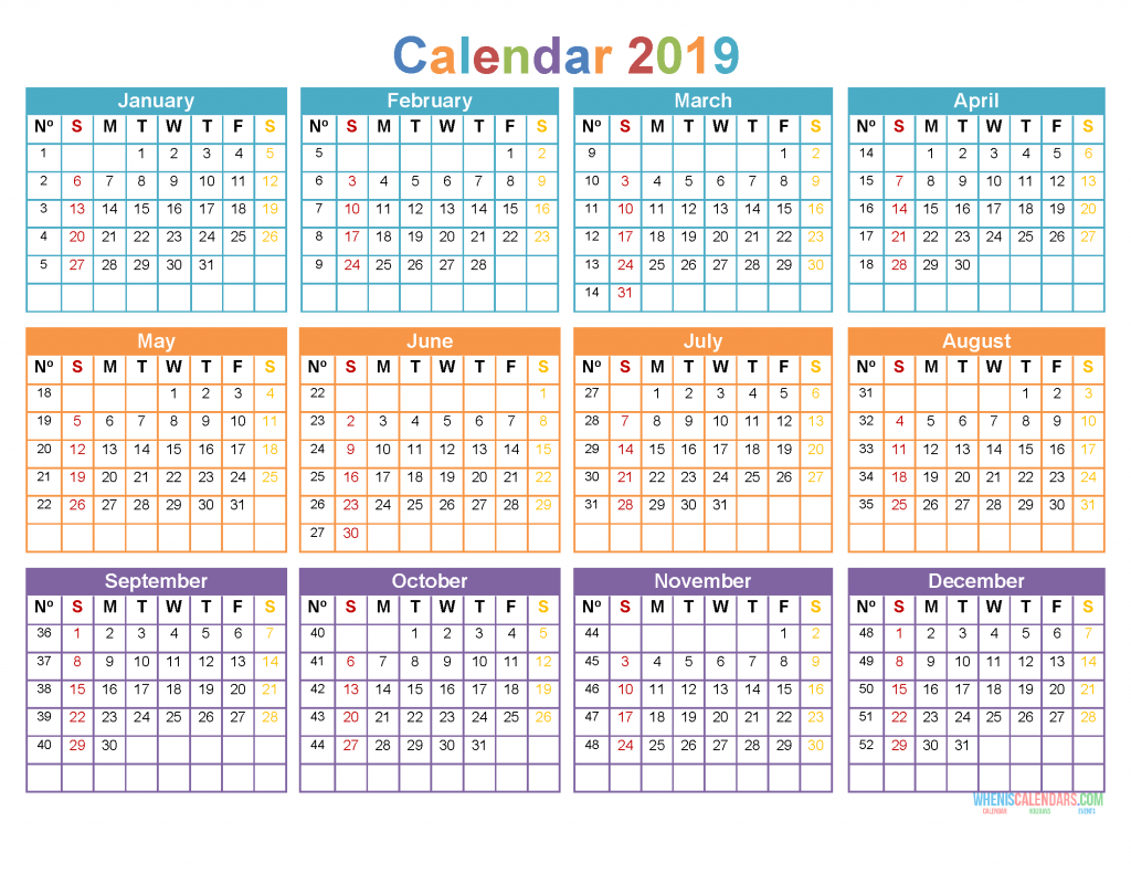 printable yearly calendar 2019 12 month on 1 page  sunday