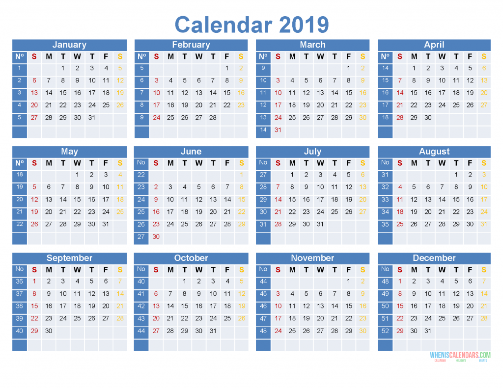 graphic relating to 3 Year Calendar Printable known as Complete 12 months Calendar 2019 Printable 12 Thirty day period upon 1 Website page [ US