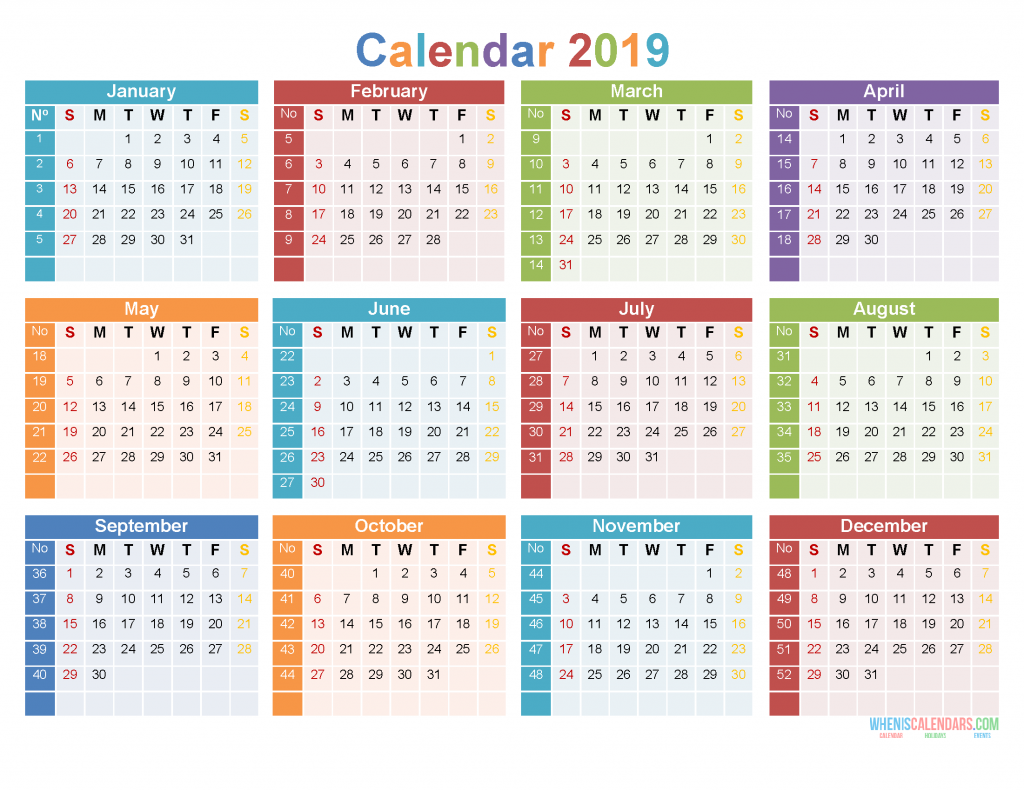 Download Template Kalender 2019 Free