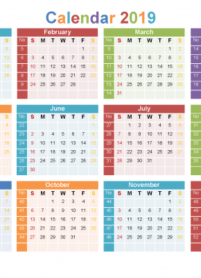 12 Month 2019 Calendar Printable On 1 Page Us Edition Free