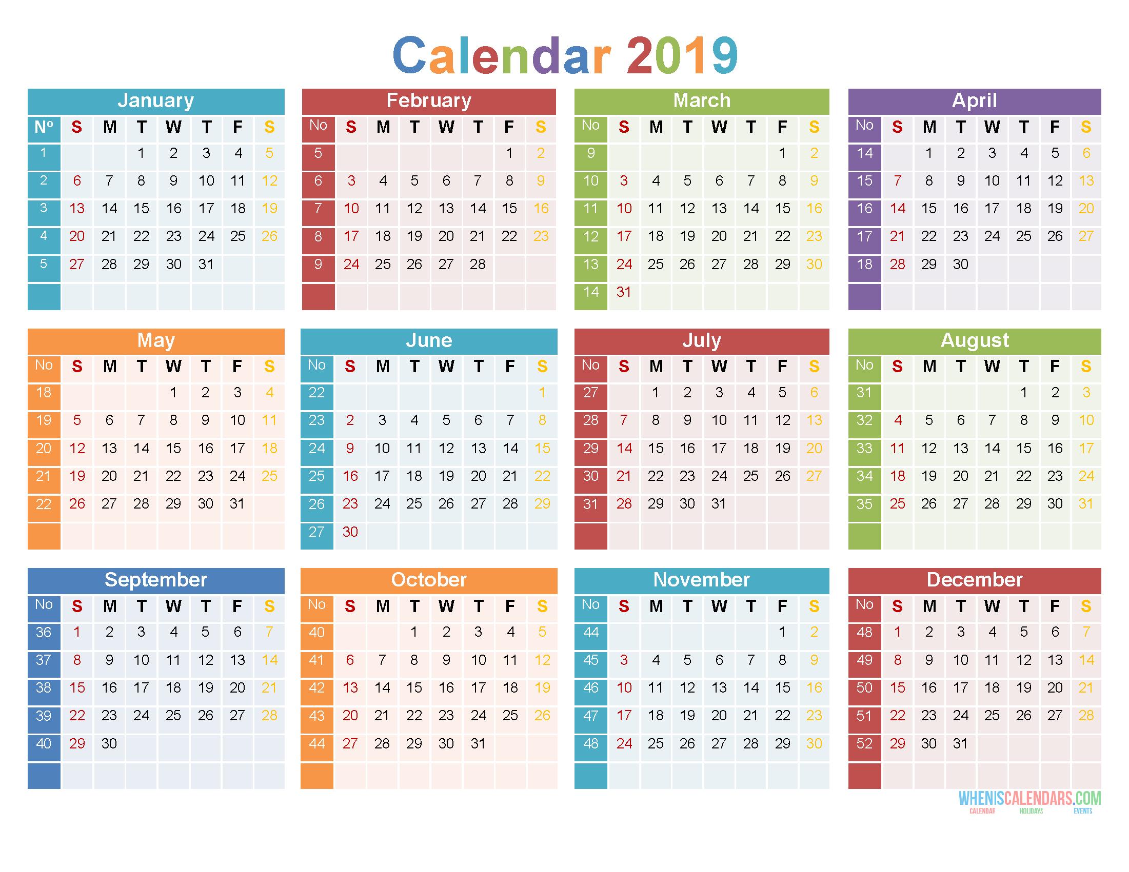 2019 12 Month Calendar Template Large Print Calendar PDF, Image