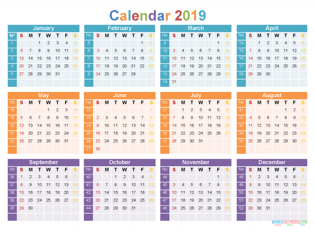 Download Printable 2019 Yearly Calendar Tempalte Us Edition 2019