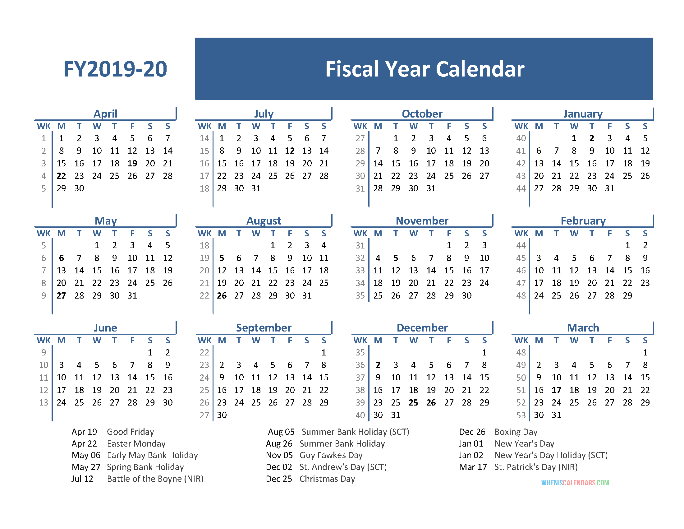 2020 Fiscal Year Calendar Fiscal Year 2019 Calendar with Holidays (April 2019 March 2020