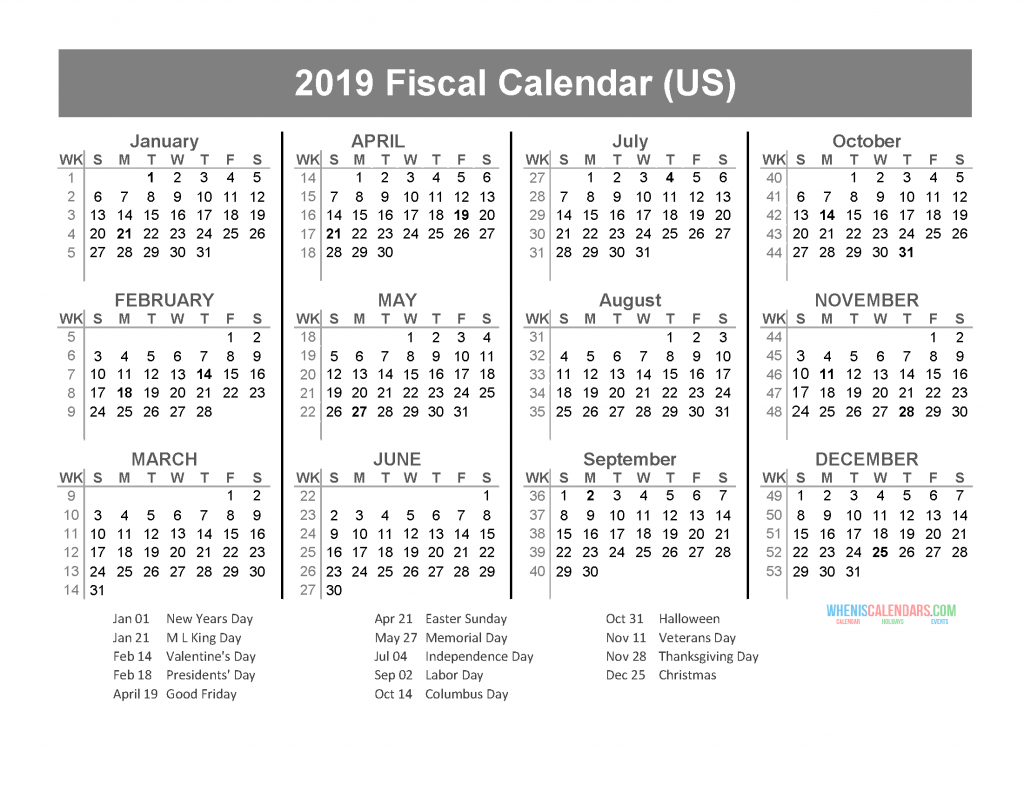 Fiscal Year 2019 2020 Calendar Template with US Holidays