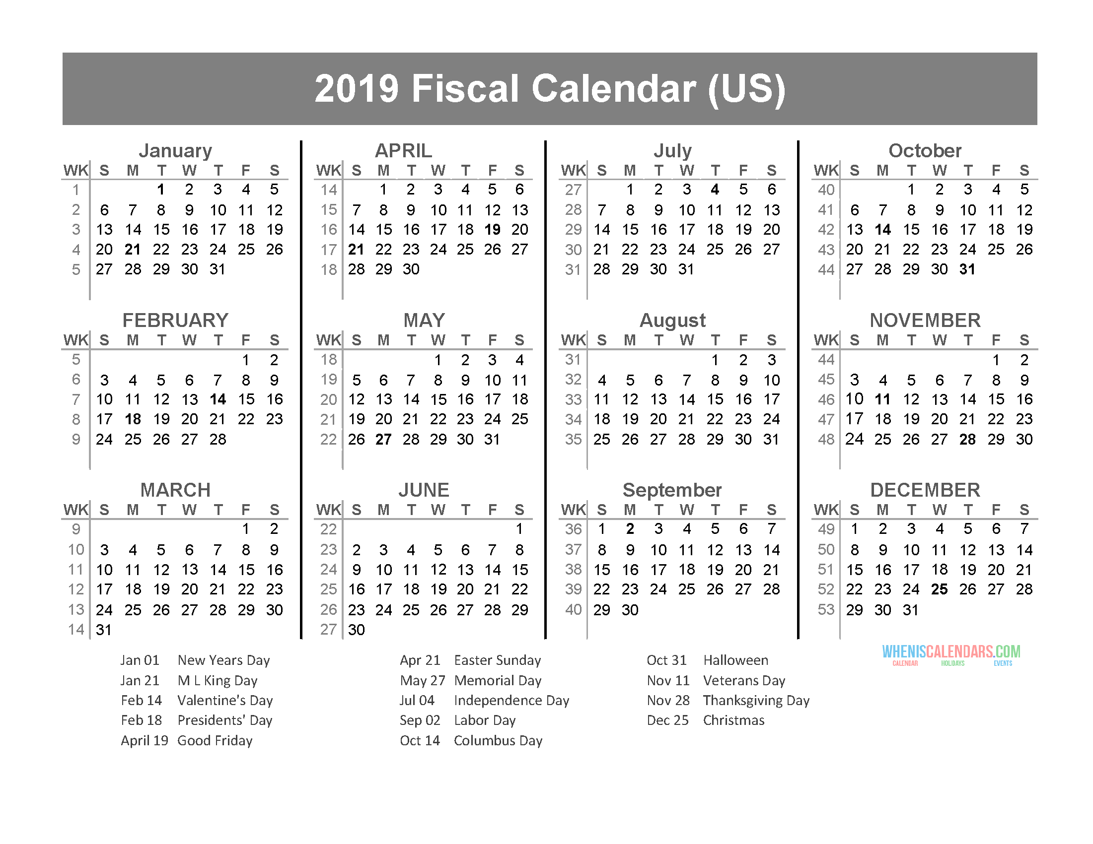 fiscal year 2019 calendar with us holidays  january to