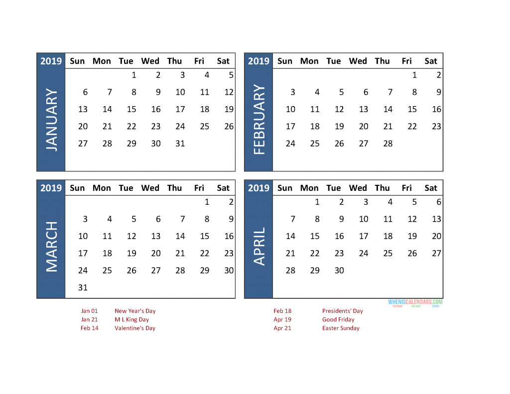 Printable 4 Month Calendar 2019 January February March April