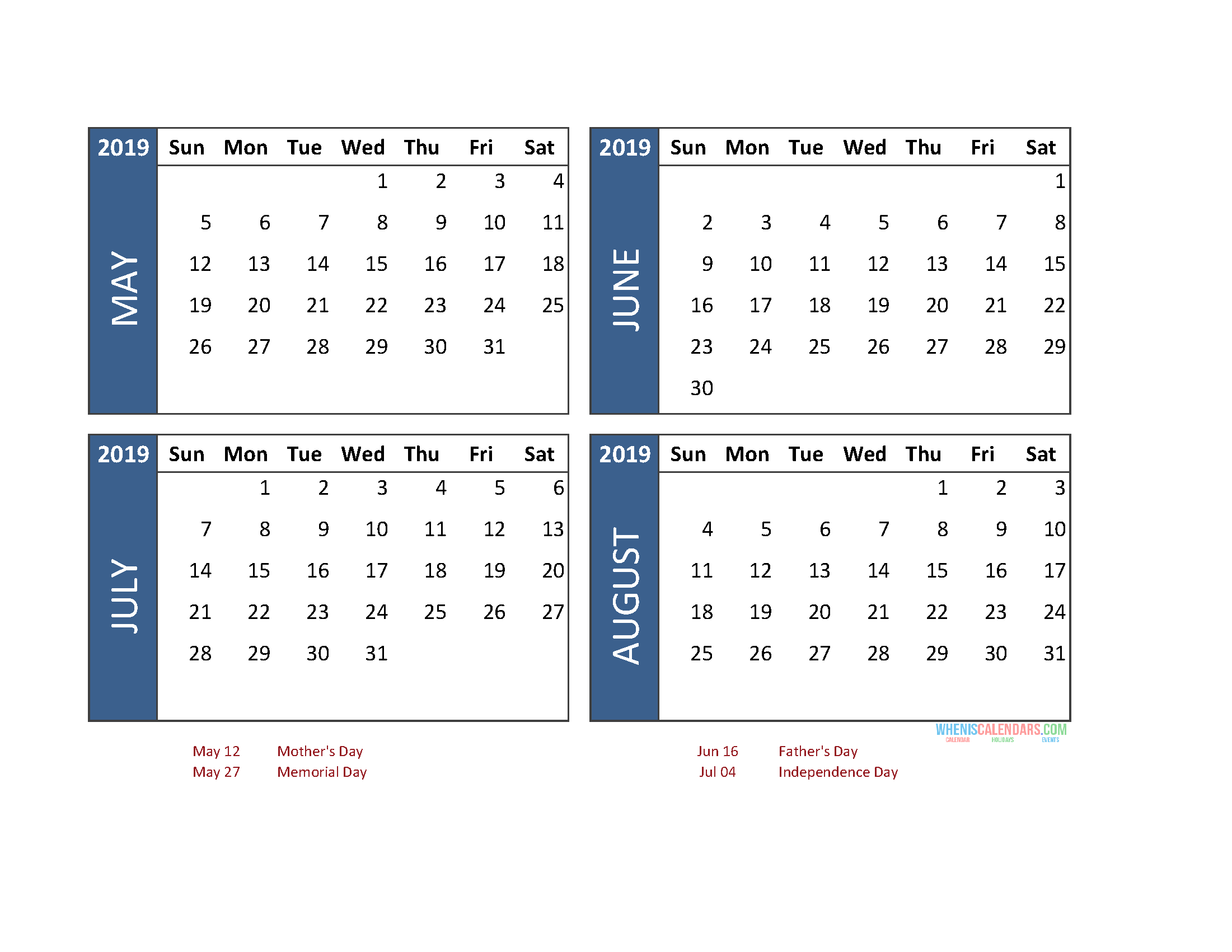 Printable 4 Month Calendar 2019 May June July August Free