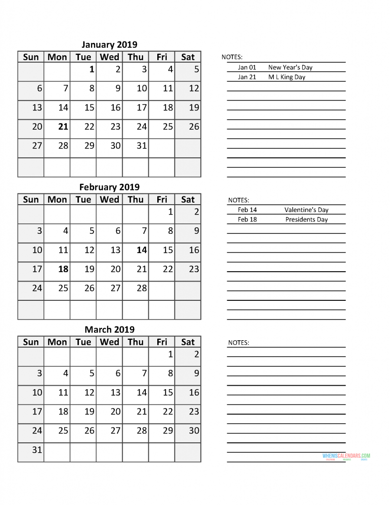 First Quarter Calendar 2019 3 Month Calendar 2019 Quarterly Calendar Template with US Holidays