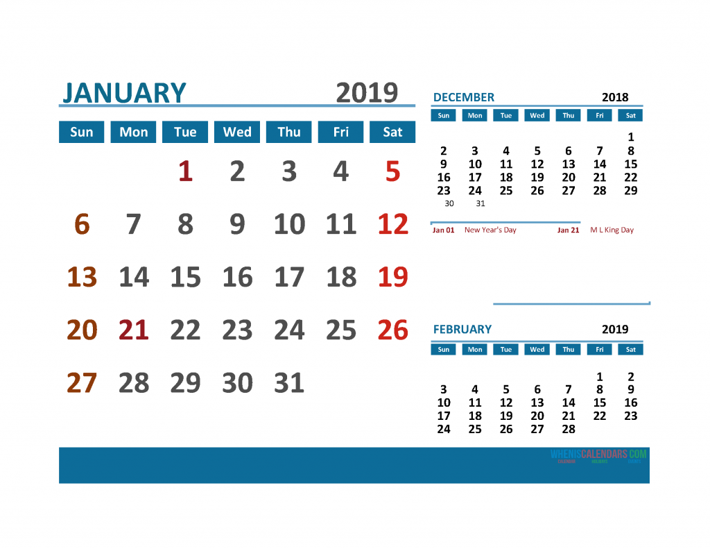 Printable Calendar January 2019 with Holidays 1 Month on 1 Page. 3 Month Calendar December 2018, January, February 2019