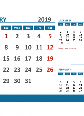 Printable Calendar January 2019 with Holidays 1 Month on 1 Page