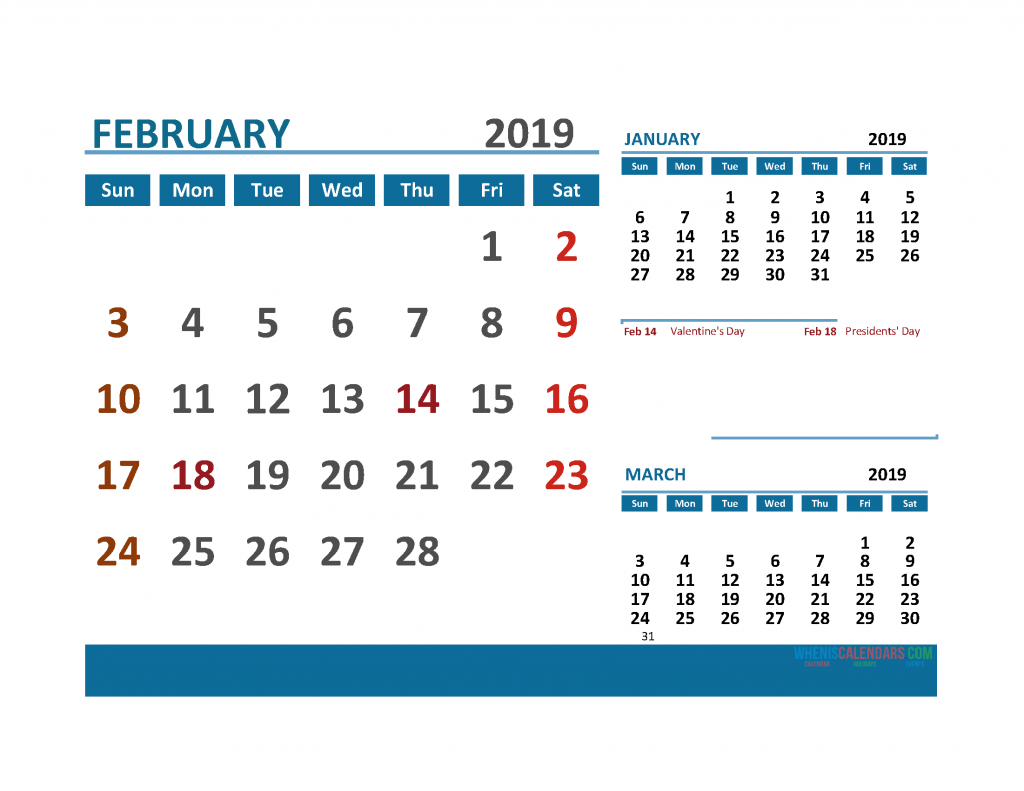 Printable Calendar February 2019 with Holidays 1 Month on 1 Page. January, February March 3 Month Calendar 2019
