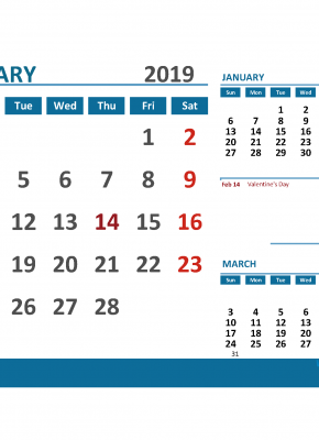Printable Calendar February 2019 with Holidays 1 Month on 1 Page