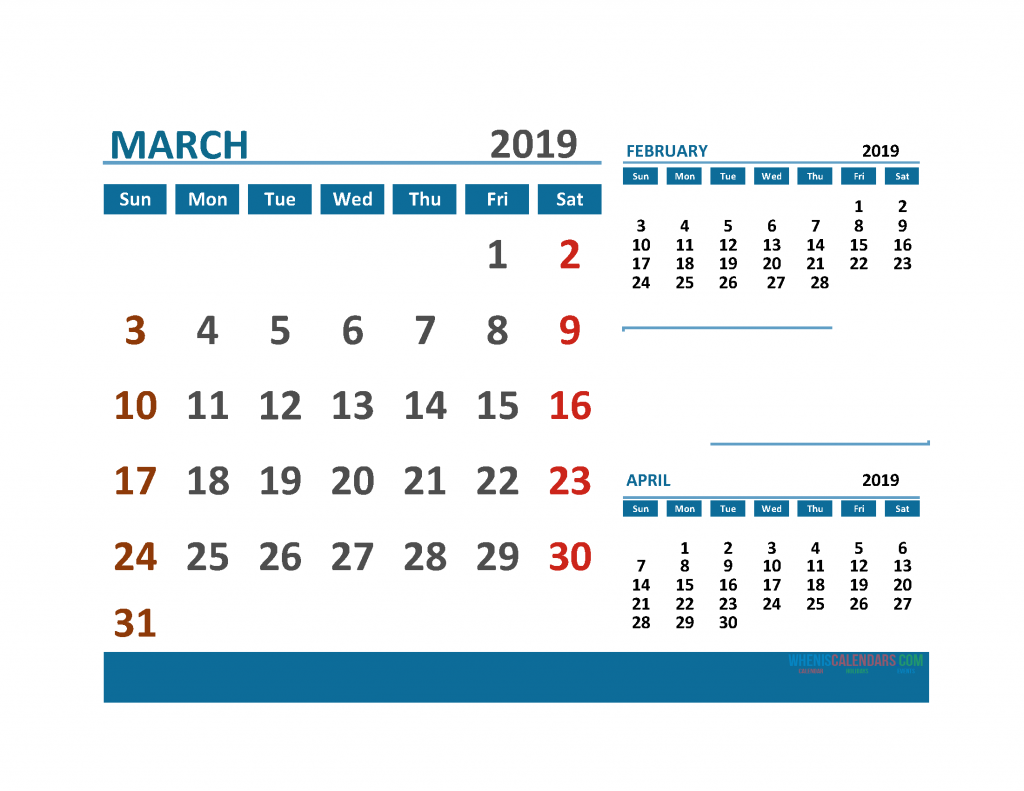 Printable Calendar March 2019 with Holidays 1 Month on 1 Page. February March April 3 Month Calendar 2019