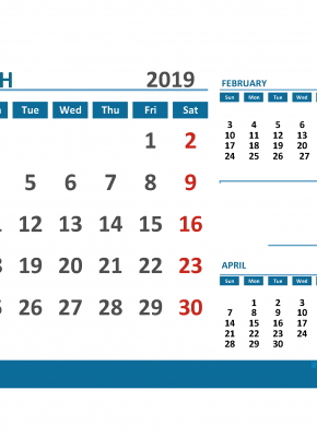Printable Calendar March 2019 with Holidays 1 Month on 1 Page