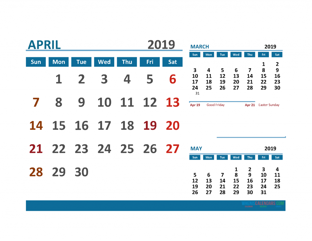 Printable Calendar April 2019 with Holidays 1 Month on 1 Page. March April May 3 Month Calendar 2019