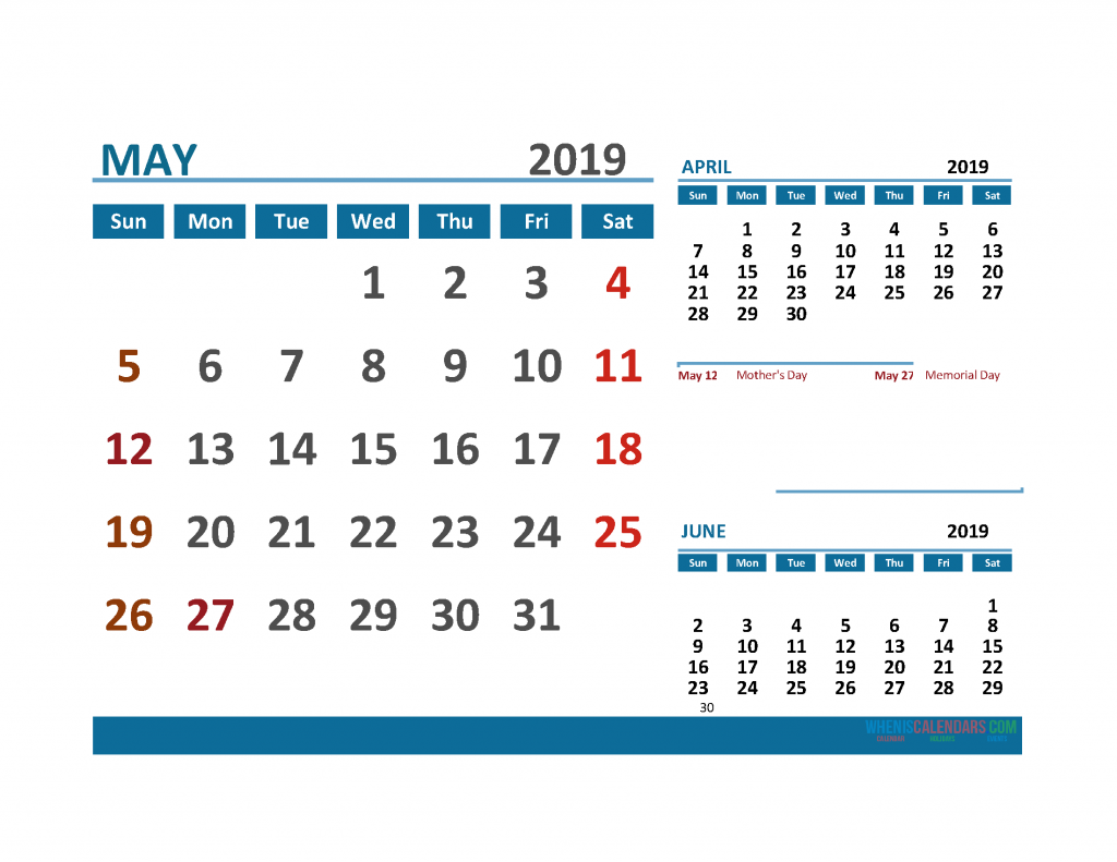 Printable Calendar May 2019 with Holidays 1 Month on 1 Page. April May June 3 Month Calendar 2019