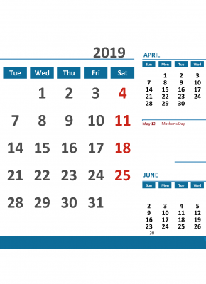 Printable Calendar May 2019 with Holidays 1 Month on 1 Page