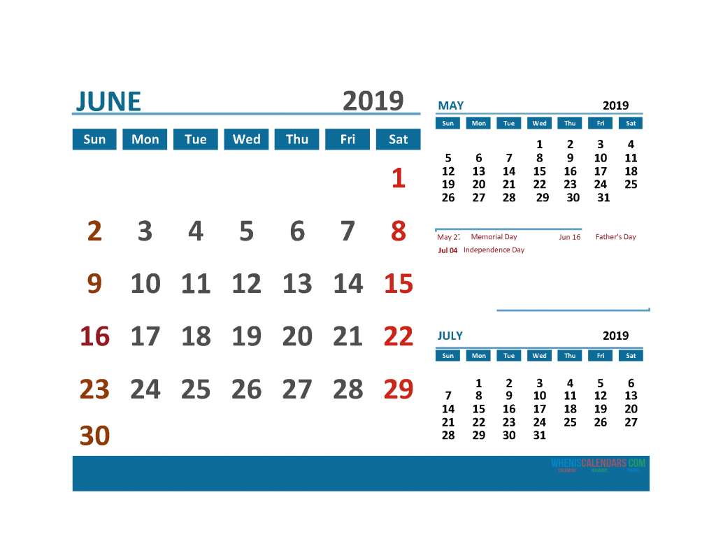 Printable Calendar June 2019 with Holidays 1 Month on 1 Page. May June July 3 Month Calendar 2019