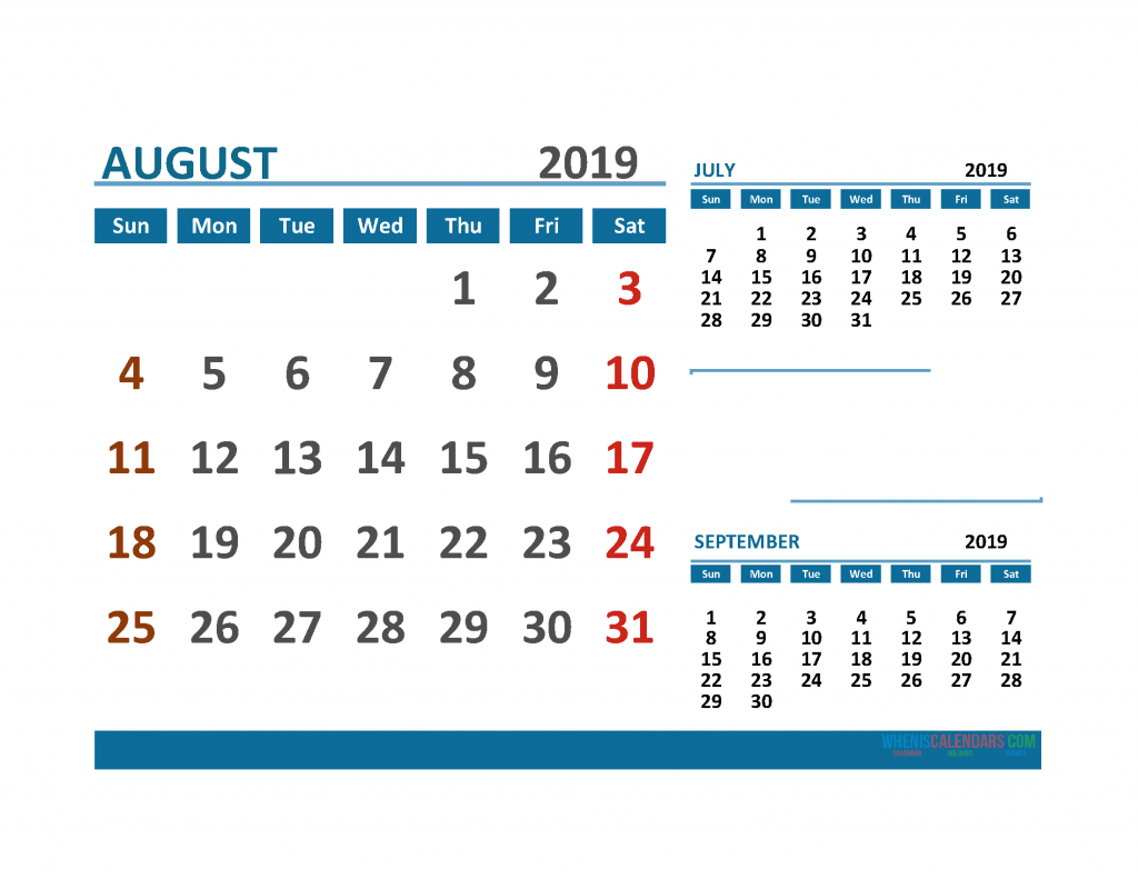 Printable Calendar August 2019 with Holidays 1 Month on 1 Page. July August September 3 Month Calendar 2019