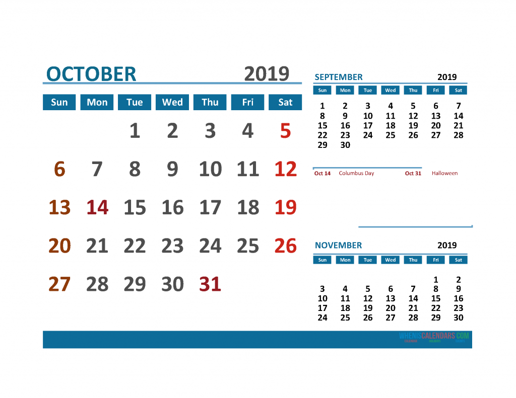 Printable Calendar October 2019 with Holidays 1 Month on 1 Page. September October November 3 Month Calendar 2019