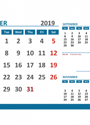 Printable Calendar October 2019 with Holidays 1 Month on 1 Page