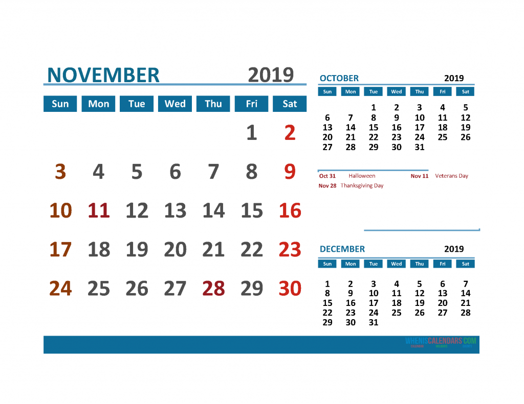 Printable Calendar November 2019 with Holidays 1 Month on 1 Page. October November December 3 Month Calendar 2019
