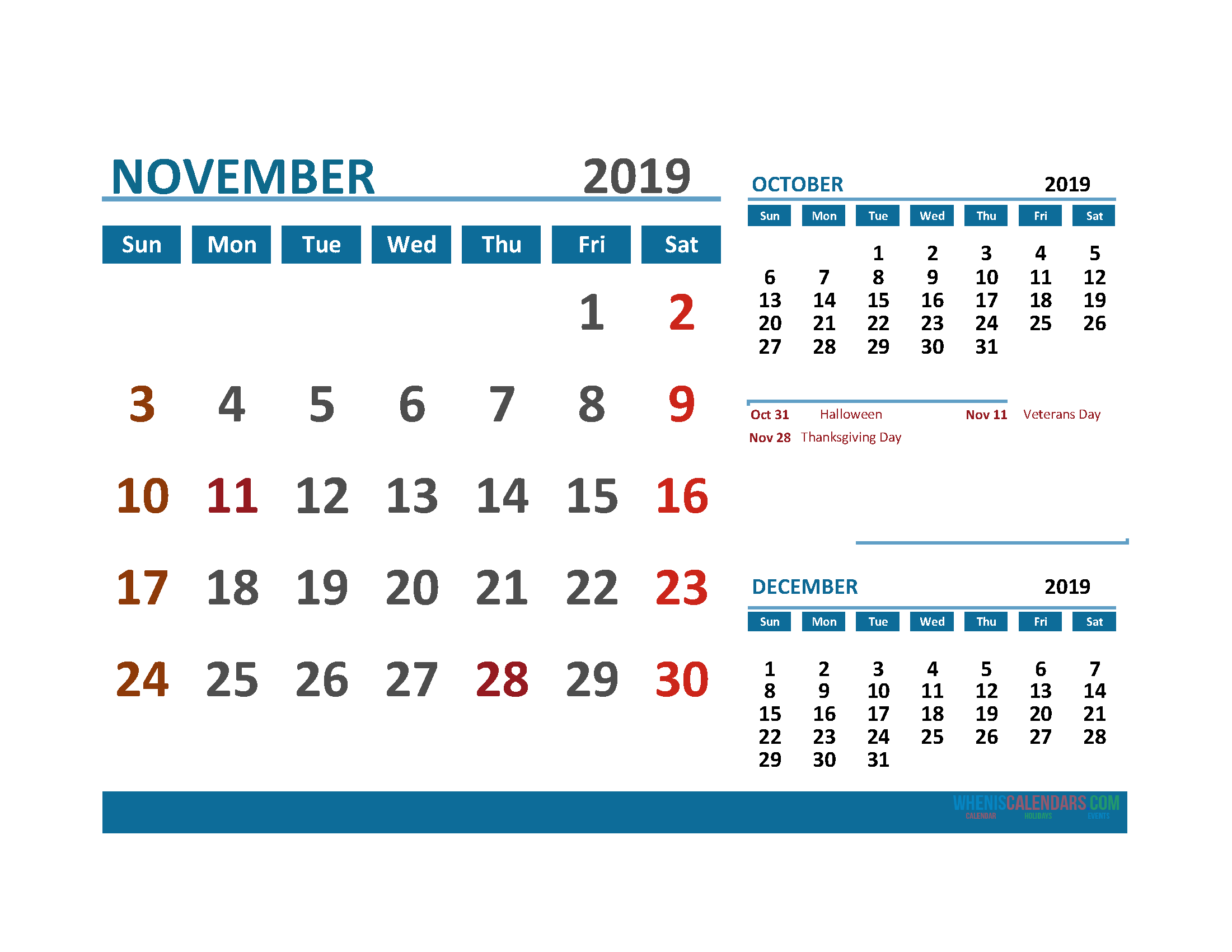 Printable Calendar November 2019 with Holidays 1 Month on 1 Page. October November December 3 Month Calendar 2019