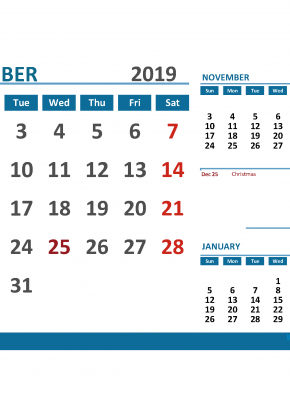 Printable Calendar December 2019 with Holidays 1 Month on 1 Page