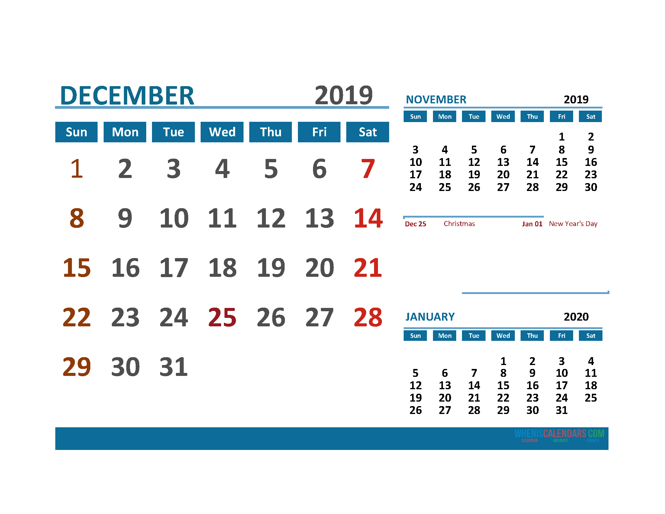 Printable Calendar December 2019 with Holidays 1 Month on 1 Page. November December 2019 and January 2020 3 Month Calendar