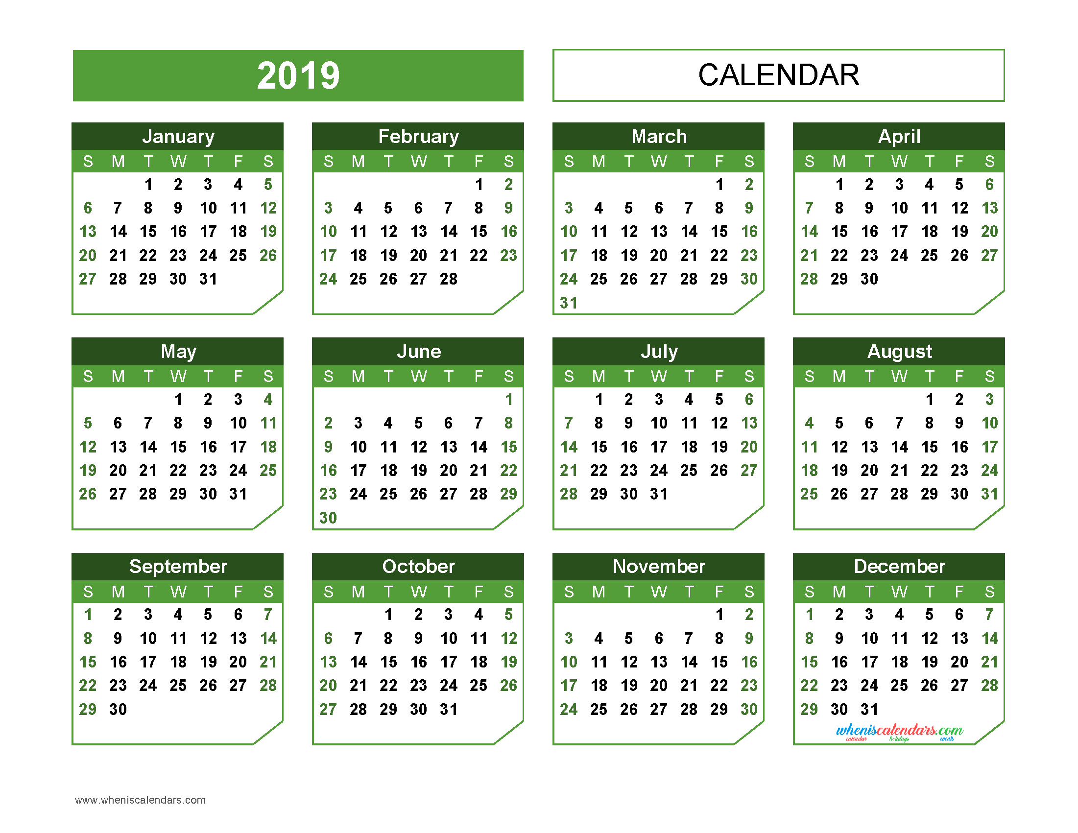 Printable 2019 Yearly Calendar Templates Us Edition 11 Templates