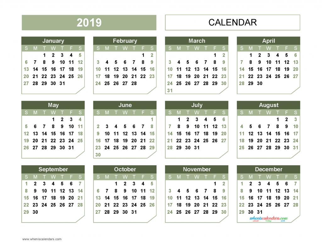 Printable 2019 Yearly Calendar Templates US Edition [11 ...