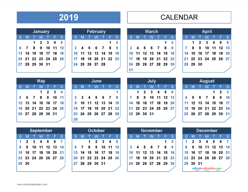 Free download and print the printable 2019 yearly calendar templates US edition, chamfer collection