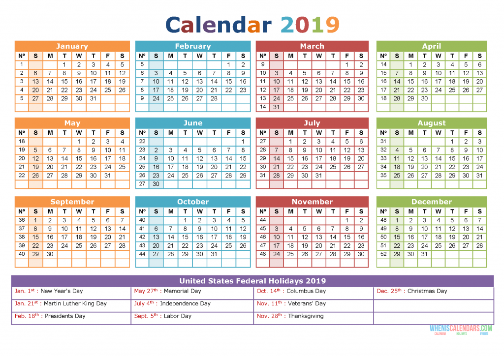 2019 calendar with holidays printable yearly calendar