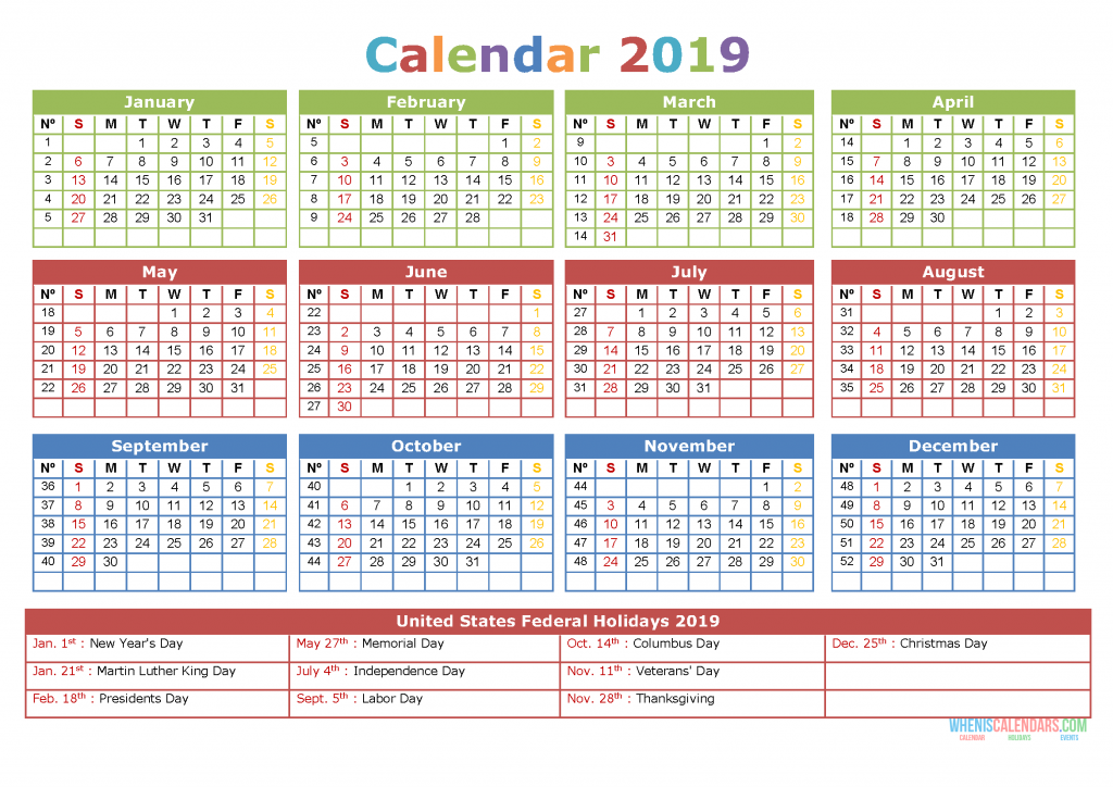 graphic about Calendar With Holidays Printable called 2019 Calendar with Holiday seasons Printable Calendar Template