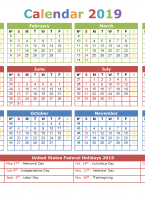 2019 Yearly Calendar with Holidays Printable