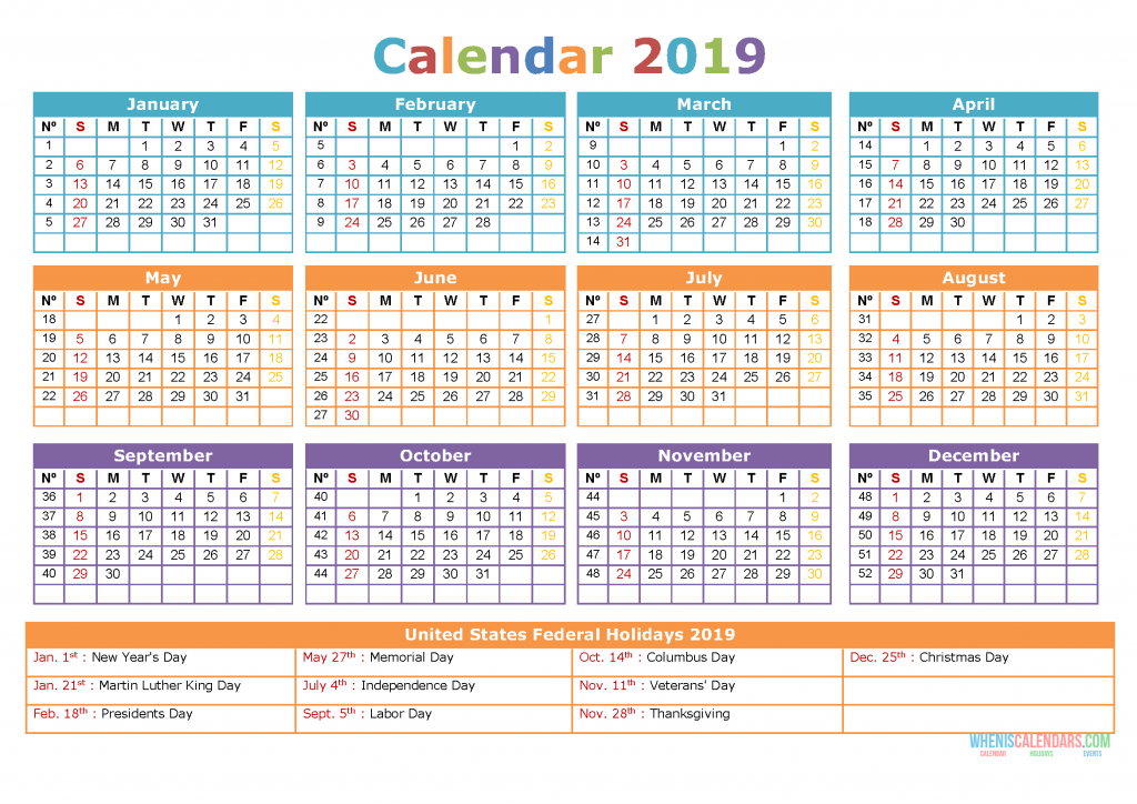 picture about Calendar With Holidays Printable called Cost-free Down load 2019 Calendar with Holiday seasons Printable [Phrase
