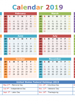 2019 Yearly Calendar with Holidays Printable US Edition
