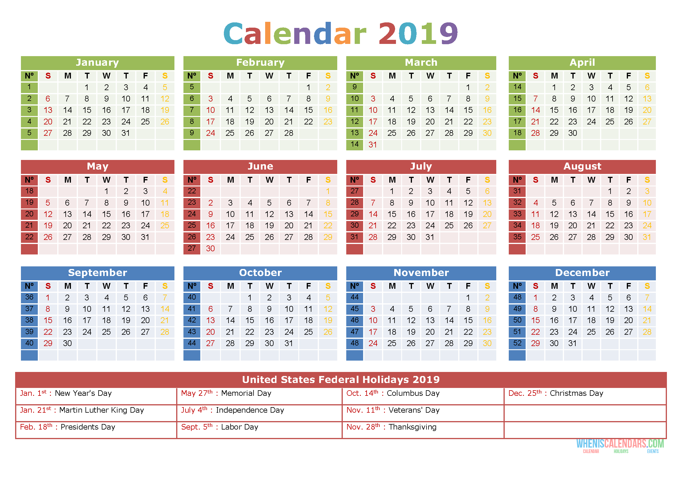 Printable Yearly Calendar 2019 with Holidays, US Edition