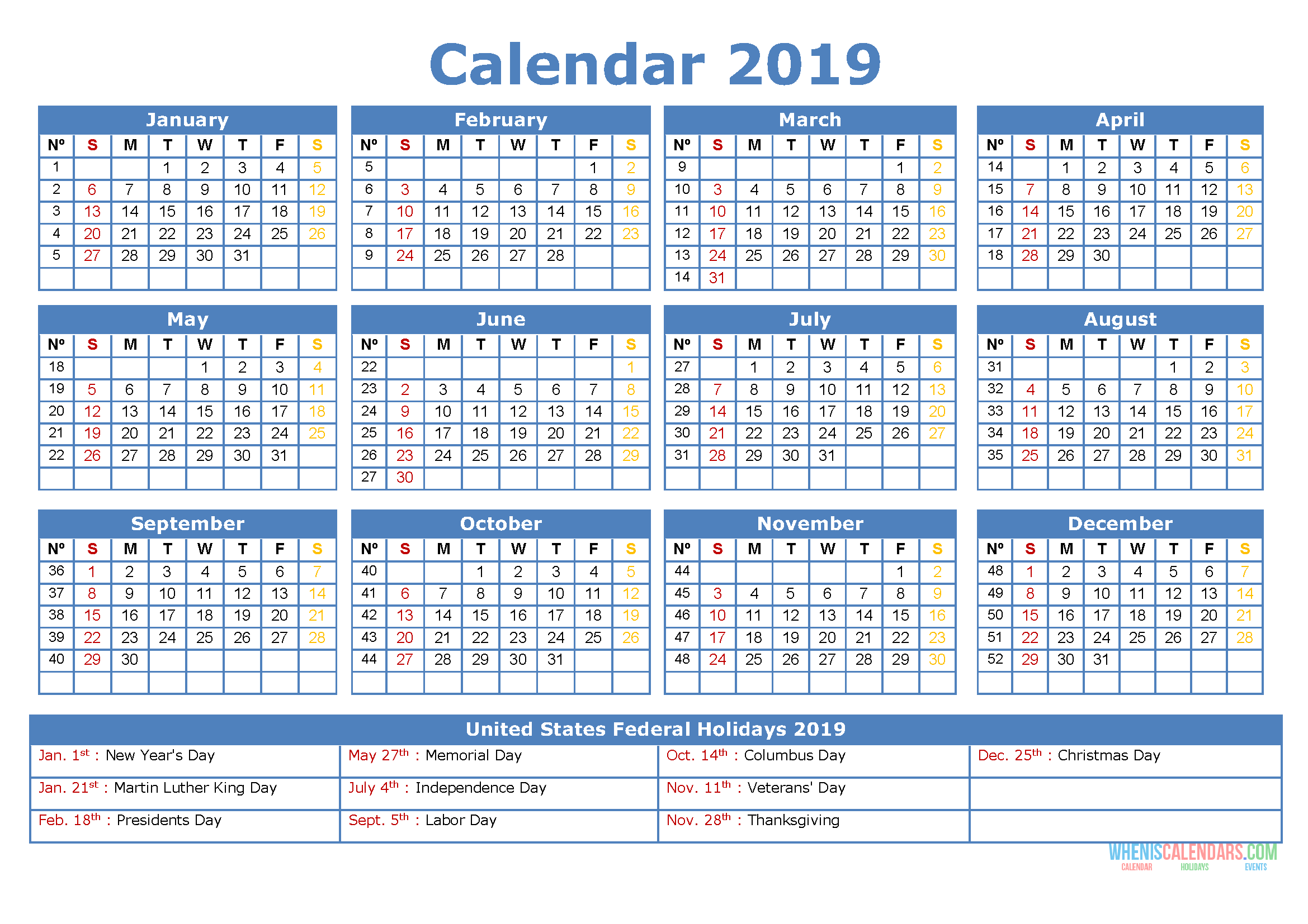 Printable Yearly Calendar 2019 with US Holidays
