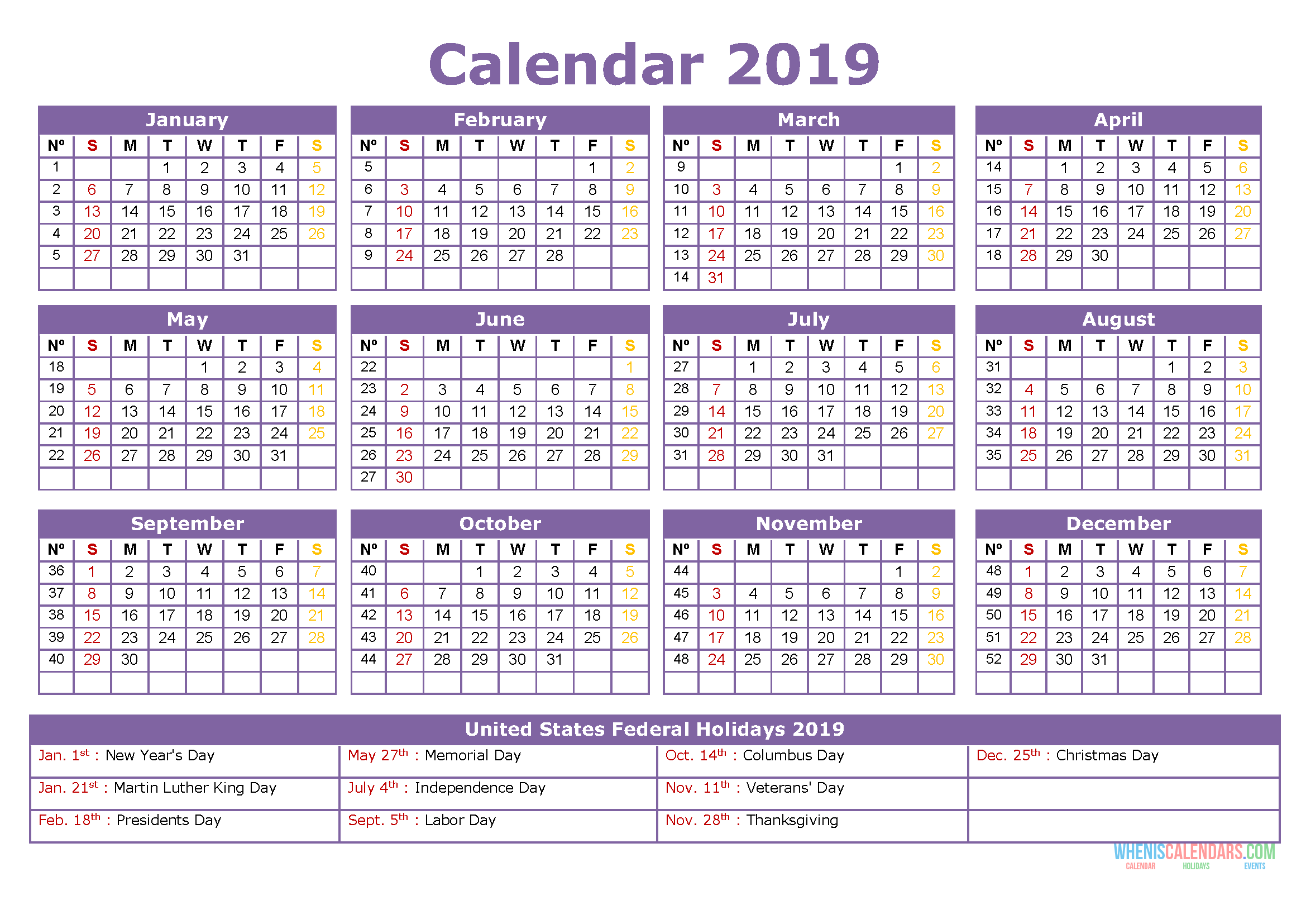 Free Download 2019 Yearly Calendar with Holidays, US Edition. 2019 Printable Calendar Template