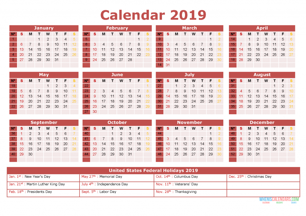 2019 Printable Yearly Calendar with Holidays, US Edition