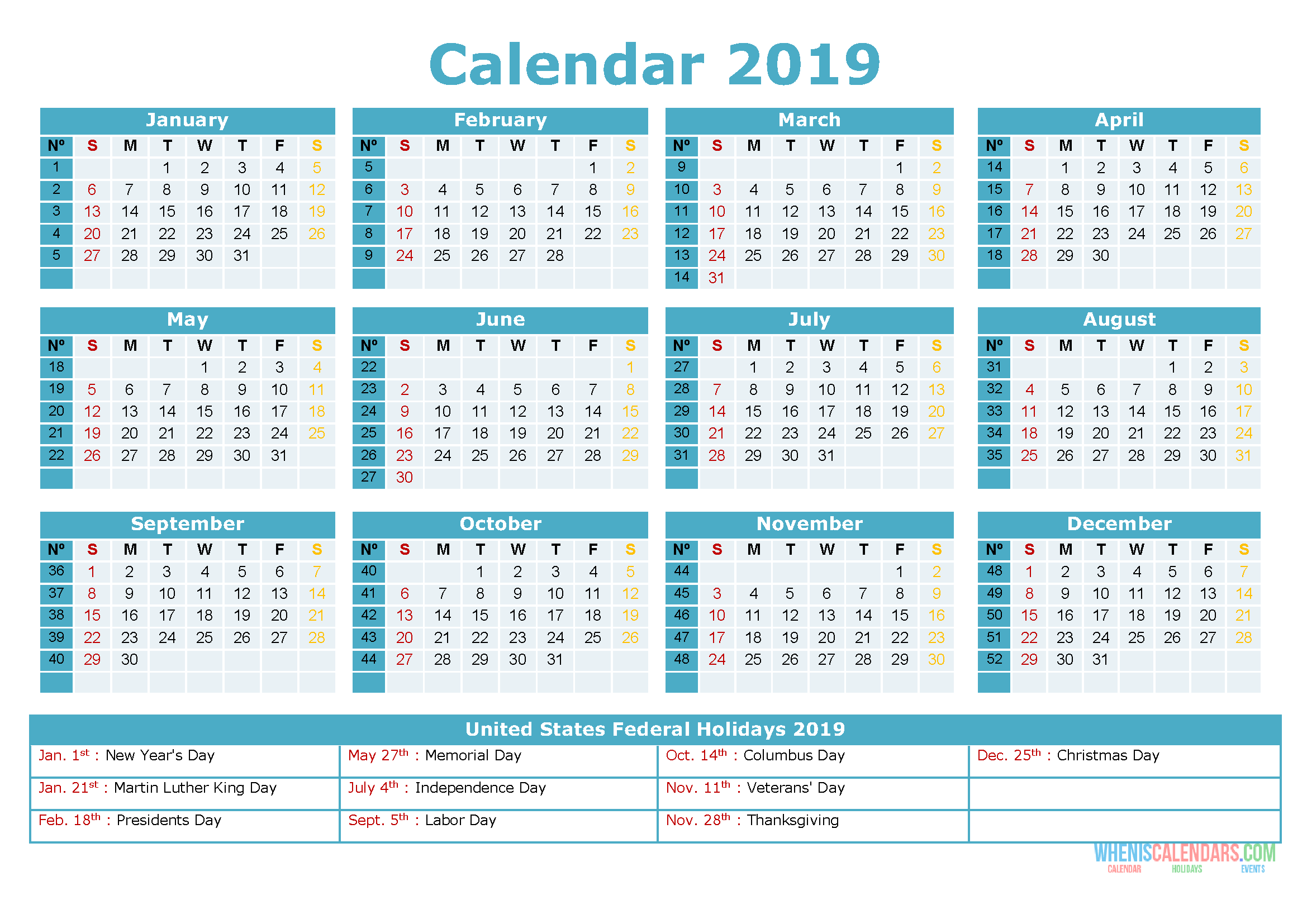 Printable Yearly Calendar 2019 with Holidays as PDF and ...