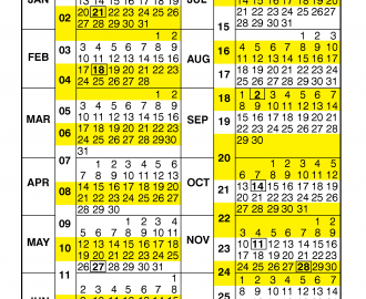 Pay Period Calendar 2019 by Calendar Year
