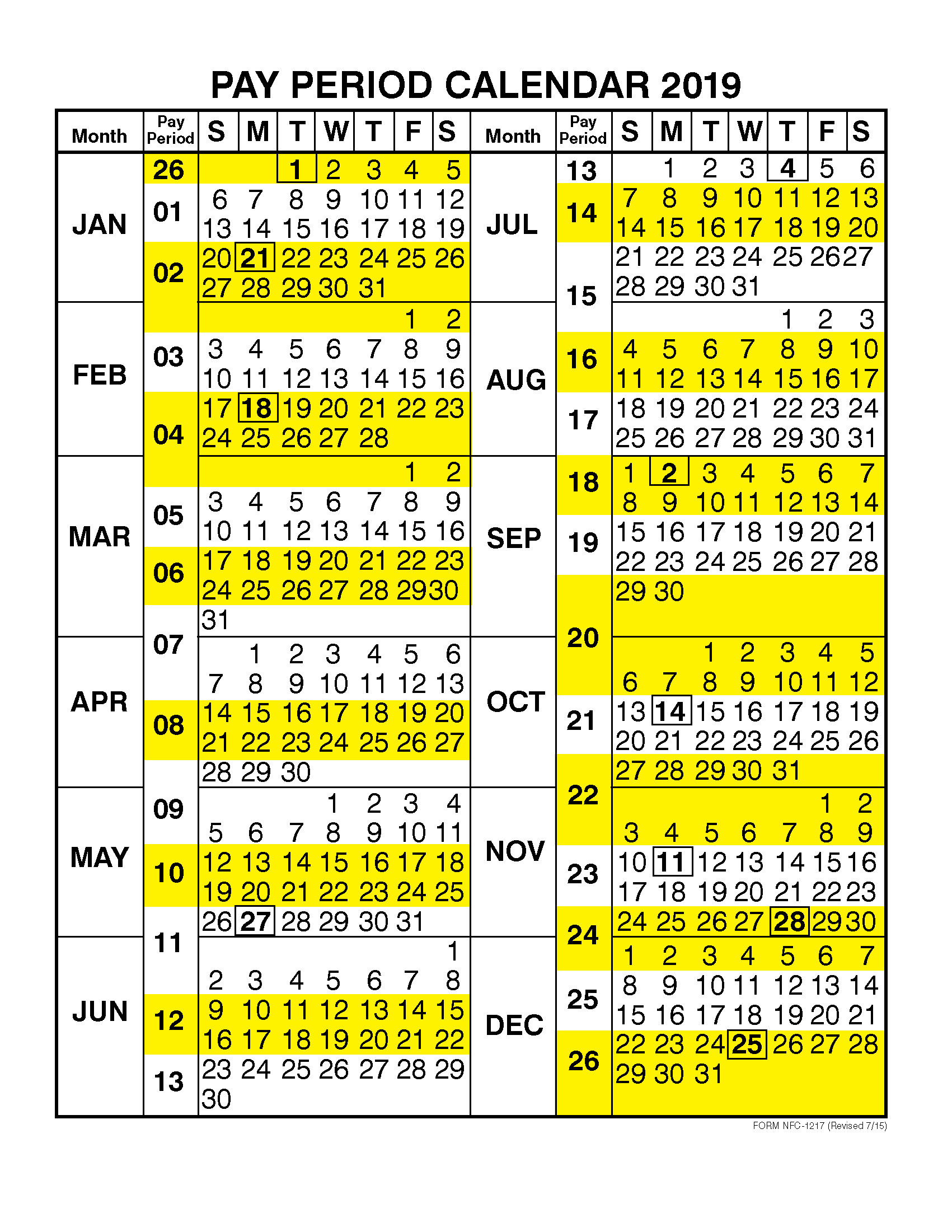 Federal Pay Period Calendar 2019 Pay Period Calendar 2019 by Calendar Year | Free Printable 2019